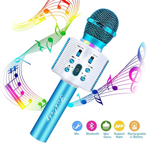 FishOaky Microfono Karaoke Bluetooth Wireless con Altoparlante, 4.1 Portatile KTV Karaoke Player per Cantare, Funzione Eco, per Adulti e Bambini Compatibile con Android/PC or smartphone