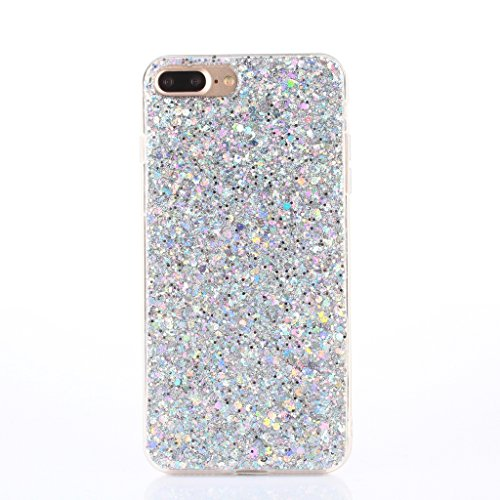iPhone 7 Plus Case,iPhone 8 Plus Case [With Free Tempered Glass Screen Protector],Mo-Beauty® Luxury Bling Shiny Sparkle Glitter Crystal [Slim Fit] Shockproof Shining Fashion Style Soft Flexible TPU Silicone Gel Protective Shell Case Cover For Apple iPhone 7 Plus (2016)/8 Plus (2017) 5.5 Inch (Silver)
