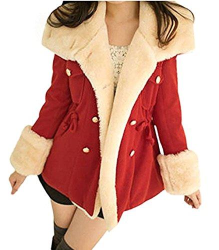 Damen Mäntel, GJKK Damen Winter mode Wärme Zweireiher Wollmischung Jacke Mantel (S-XL) (Rot, L) -