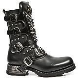 New Rock Boots M.MR019-S1 Urban Biker Hardrock Herren Stiefel Schwarz, EU 46