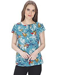 2 Of Us Women'S Green Floral Printed Crepe Top