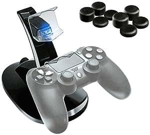 P4X Doppel-Ladestation für Sony Playstation 4 Controller und 8x Analogstick Aufsätze