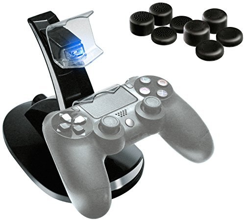 P4X Doppel-Ladestation für Sony Playstation 4 Controller und 8x Analogstick Aufsätze (Playstation-drum-set)
