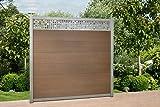 WPC Zaun Royal Alu - Dekor Paneele, ca. B 945 x H188 cm, Sichtschutzzaun, mit 6 Pfosten und Zubehör Farbe: Braun/Grau