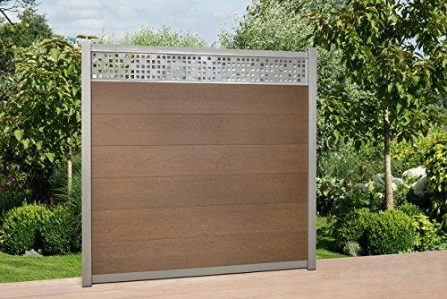 WPC Zaun Royal Alu – Dekor Paneele, ca. 380 x H188 cm, Sichtschutzzaun, mit 3 Pfosten und Zubehör Farbe: Braun/Silber