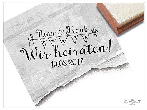 Stempel - Individueller Hochzeitsstempel mit Namen und Datum - Wir heiraten! - für Scrapbook, Artjournal, Einladungen und mehr