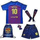 MEMENTO 2018/2019 Barcelona #10 Lionel Messi Heim Kinder Fußball Trikot Hose und Socken Kindergrößen (9-10 Jahre)