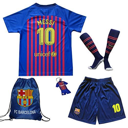 MEMENTO 2018/2019 Barcelona #10 Lionel Messi Heim Kinder Fußball Trikot Hose und Socken Kindergrößen (5-6 Jahre)