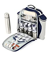 Greenfield Collection Super Deluxe Navy Blue Picnic Backpack Hamper for Four People