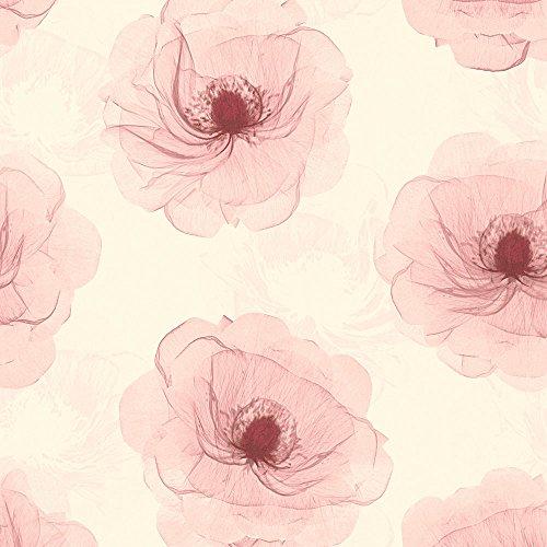 A.S. Création Vliestapete X-Ray Tapete in Röntgen Optik floral 10,05 m x 0,53 m creme metallic rot Made in Germany 342743 34274-3 - Floral Faser-optik