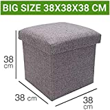 Sterling Foldable Ottoman Storage Box Cum Foldable Stool - Linen Fabric Foldable Basket Cubes Organizer Boxes Containers Drawers with Lid - Grey (38 X 38 X 38 cm)