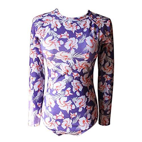 Moresave Black Fashion Style Swimsuit Costume intero Costumi da bagno Costumi da bagno Stampa di fiori viola