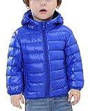 HAPPY CHERRY Kinder Junge Mädchen Ultraleichte Daunenjacke mit Kapuze Unisex Kinder Winterjacke Herbst Winter Jacket Warme Steppjacke tragbar Daunenmantel in Blau Größe 150 cm