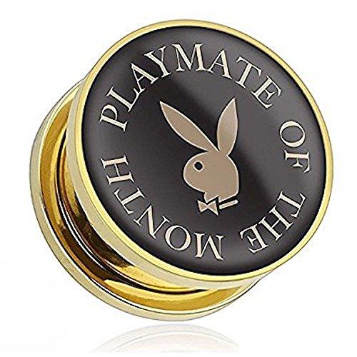2GA (6mm) Playboy-Kaninchenkopf des Monats überzogen chirurgische offiziellen Playboy Gold Ear Tumor Stahl (Kostüm Hund Kegel)