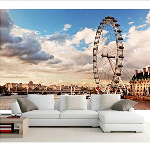 Benutzerdefinierte London Riesenrad Wolken Thames River Cities Papel De Parede, Wohnzimmer Tv Siofa Wand Schlafzimmer Foto Wandbild Tapete Möbeldekoration (W)250x(H)175cm -