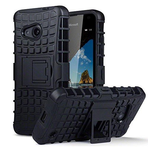 Lumia 550 Tasche, Terrapin TPU + PC Hülle mit Standfunktion für Microsoft Lumia 550 Hülle Schwarz