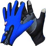 Hiaphao Warmes Winddichtes Volles Finger-Fahrrad-Sporthandschuh-Touch Screen Motorrad, Taktisch, Ski-Handschuh-Mann-Frauen Blue L