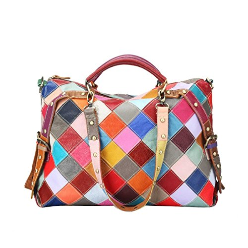 Leder-nieten-handtasche (Frauen Handtaschen Leder Bunt Schlagfarbe Mode Nieten Nähen Umhängetasche,A-OneSize)