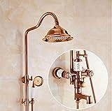 NewBorn Faucet Küche oder Badezimmer Waschbecken Mischbatterie Alle Kupfer Keramik Regendusche Dusche Set Retro Dusche Wasser mit Hebe B Tippen