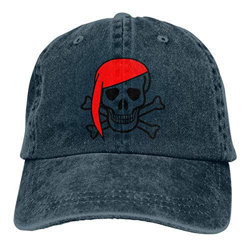 Pirate Skull Retro Adjustable Cowboy Denim Hat Unisex Hip Hop Black Baseball Caps