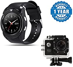 Captcha Professional Portable V8 Bluetooth Smart Camera Activity Tracker with 1080P Sports DV Car Action Waterproof Camcorder HDMI Sport Camera Compatible with Xiaomi, Lenovo, Samsung, Sony, Oppo, Gionee, Vivo Smartphones (One Year Warranty)