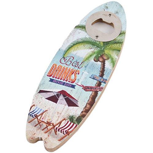 Flaschenöffner Surfbrett Tiki Beach Bar Design MDF 20x6cm bunt Vintage Design (Design 1)