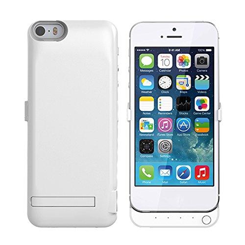 iPhone 5 5S 5C SE Coque Batterie Étui 4200mAh Ultra Mince External Rechargeable de Chargeur Portable de Secours Externe Chargeur Housse Power Case Prolonger de Protection pour iPhone 5 5S 5C SE blanc