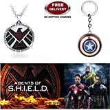 (2 Pcs AVENGER SET) - AGENTS OF S.H.I.E.L.D IMPORTED PENDANT & CAPTAIN AMERICA REVOLVING SHIELD KEYCHAIN. LADY HAWK DESIGNER SERIES 2018. ❤ ALSO CHECK FOR LATEST ARRIVALS - NOW ON SALE IN AMAZON - RINGS - KEYCHAINS - NECKLACE - BRACELET & T