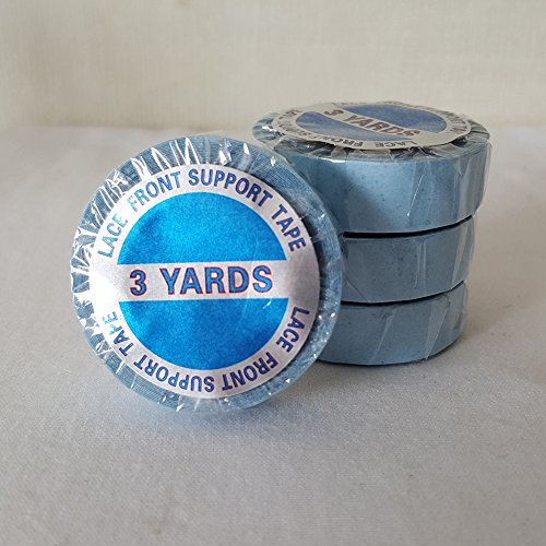 showjarlly 1rollo peluca de encaje frontal Apoyo de rollos de cinta adhesiva de doble cara azul cinta 3m..., 12 Pcs (Pre cut), 12