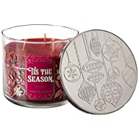 White Barn Bath and Body Works Tis The Season for 2019 Scented 3 Wick Candle 14.5 Ounce (Rich Red Apple, Cinnamon, Cedarwood)