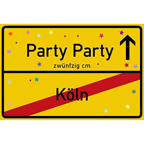 vanva Party Schild Party Party Köln Schild gelb Party-Ortsschild Ortstafel Wanddeko Party süße Geburtstag Geschenk Frauen Geschenkidee Männer 30x20 cm Schild mit Sprüchen Party Sachen
