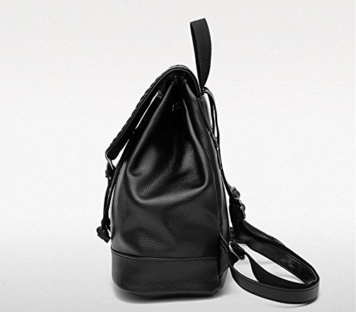 Flada, Borsa a zainetto donna nero Black medium Bark Lines Grey