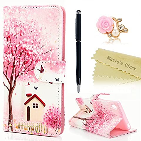 Mavis's Diary Xperia XA Cover ,Sony Xperia XA Case - Wallet Flip Bumper Cover PU Leather Case Shockproof Prints Design with Soft Inner TPU Case Magnetic Closure with Stand Folio Protective Cover with Dust Plug & Stylus Pen -