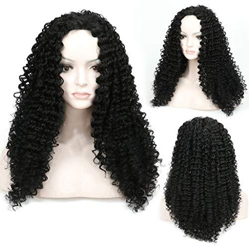 DYHOZZ Perücke | Schwarze Lange lockige Haarperücke für afrikanische Dame natürliche Flauschige Perücke Kopfbedeckung Perücke (Size : 20in)