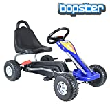 bopster® Go-Kart a pedali per bambini con ruote in plastica e nuovo freno manuale - Blu