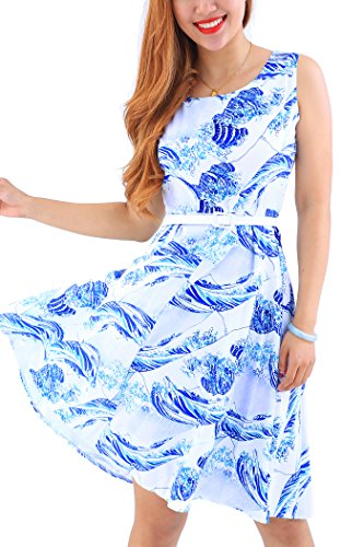 YMING Damen Partykleid Leichtes Sommerkleid Knielanges Cocktailkleid Ärmellos Midikleid,Blau,Kanagawa Welle,M