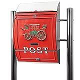 Edelstahl Standbriefkasten mit Fuß und Motiv: Postkasten Nostalgie