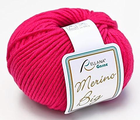 rellana coton Big FB. 34–Laine mérinos Rose pour aiguilles 5–6avec bonnet laine mérinos à tricoter & Crochet, coton