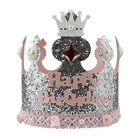 A-szcxtop Pure handgefertigt Krone Geburtstag Cap für Kinder Das Aufzeichnen der Kid 's je Wachstum geeignet für beide Jungen & Mädchen Gut Geschenk für Kinder, rosa