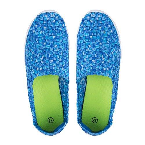 Ideal Shoes-Scarpe da ginnastica Reana Intrecciati e colorati Blu (blu)