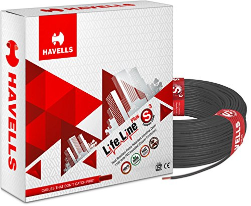 Havells Life Line Plus S3 1.5 sq mm PVC HRFR Cable (Black)