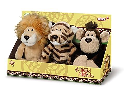 Nici Wild Friends 40210–Set Peluche Animaux Lion, Singe, Tigre, 15cm