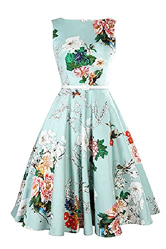 Minetom Femme Robe de Soirée Vintage Impression Snnée 1950 Sans Manches Rockabilly Swing Floral Plissée Tunique Dress Vert01