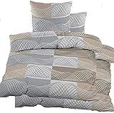 KH-Haushaltshandel 4-tlg. Biber Bettwäsche 2X (135 x 200 + 80x80 cm), 100% Baumwolle, beige grau weiß, Kringel (40105)