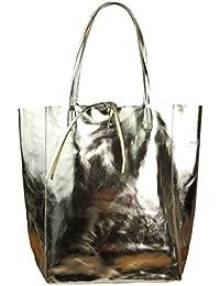 Damen Echtleder Shopper mit Innentasche in vielen Farben Schultertasche Henkeltasche Metallic look