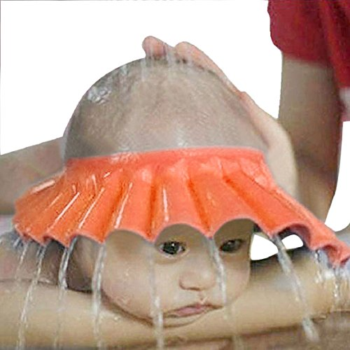 Culater® Kinder Baby Verstellbarer Shampoo Schutz Duschhaube Duschkappe Badekappe Ohrschutz Mütze Bath Shower Cap neu (orange) (2 Ding Und Ding Mützen 1 Baby)