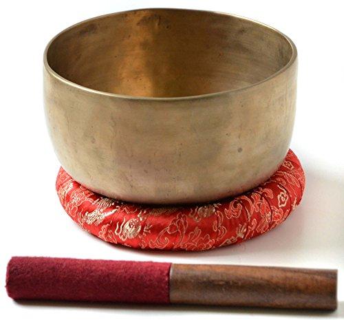 BUDDHAFIGUREN/Billy Held Tibetische Klangschalen Set mit Zubehör, Metall, Khobre 500 g-550 g