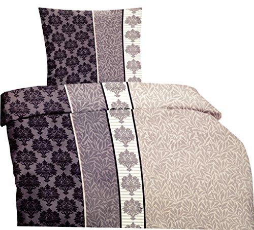 6 tlg. Microfaser Bettwäsche 135 x 200 cm Garnitur Sparset Ranke Elegant mit Reißverschluss Spannbettlaken