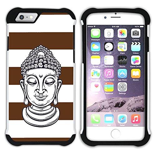 Graphic4You Buddha-Kopf Linien Muster (Wasserblau) Hart + Weiche Kratzfeste Hülle Case Schale Tasche Schutzhülle für Apple iPhone 6 / 6S Braun