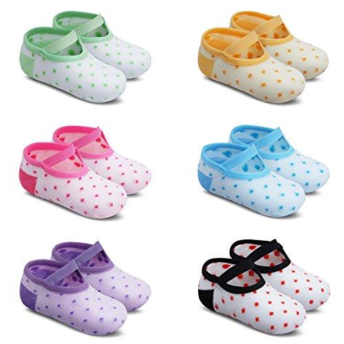 Ateid 6 Paar Baby Socken Antirutsch-Socken Stoppersocken mit Gummi-Noppen aus Baumwolle 10-36 Monaten